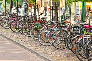 Group of bicycles in an urban campus setting