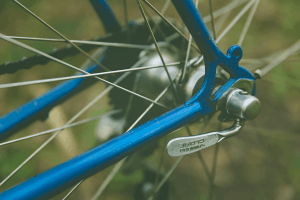 Closeup photo of bicycle wheel and spokes